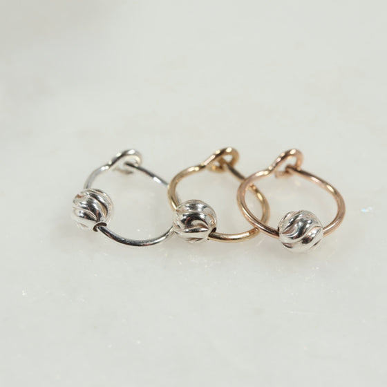 cartilage hoop earrings silver, gold, pink gold twist bead
