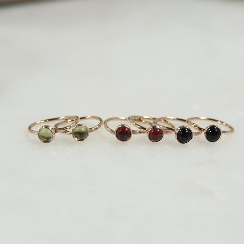 gemstone tiny hoop earrings 3mm gold  peridot, garnet, onyx