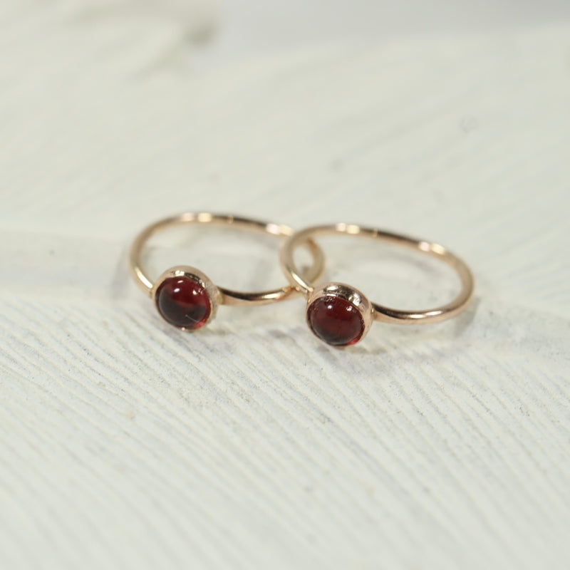 tiny gold hoop earrings gemstone 3mm garnet