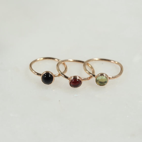 gemstone tiny hoop earrings single onyx, garnet, peridot