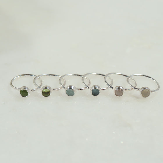 silver gemstone tiny hoop earrings peridot, aquamarine, moonstone