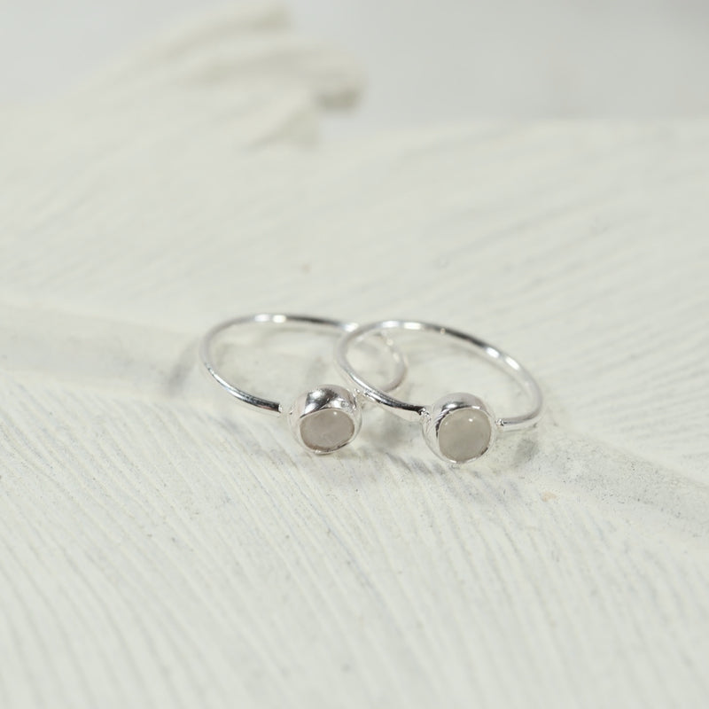 moonstone silver tiny hoop earrings 3mm