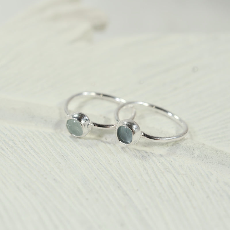 aquamarine silver tiny gemstone hoop earrings 3mm