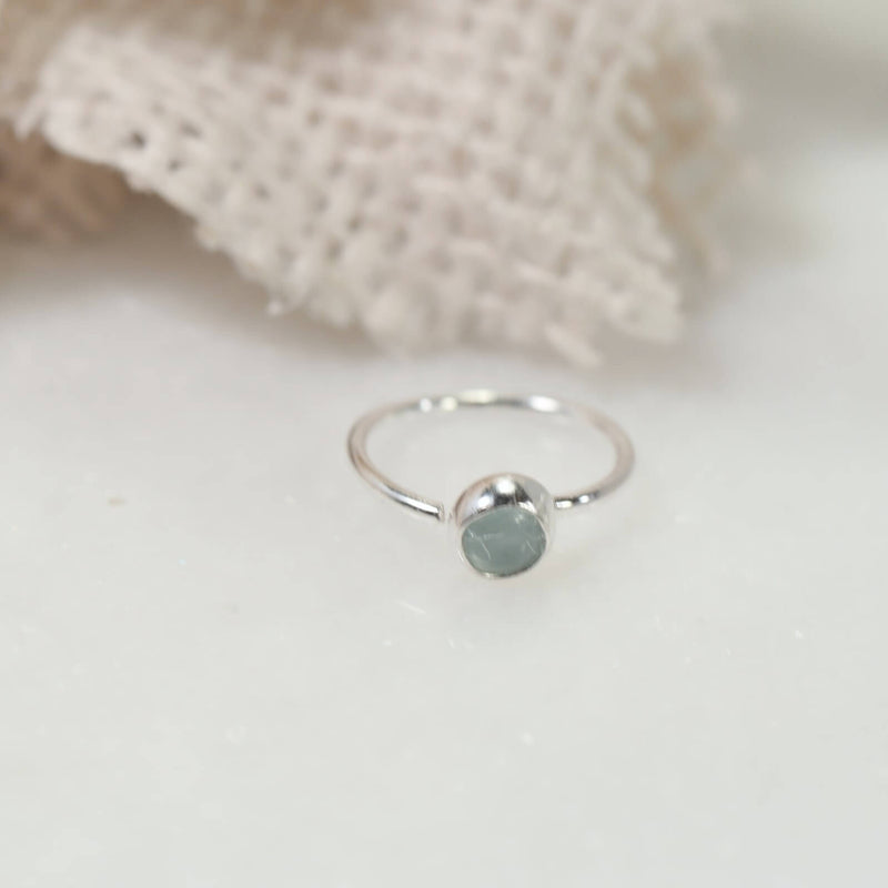 silver 3mm tragus earring aquamarine