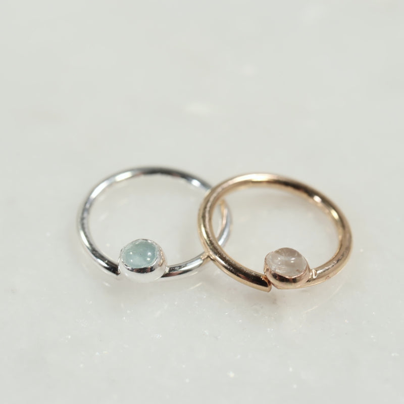 septum ring 3mm gemstone silver aquamarine, gold moonstone