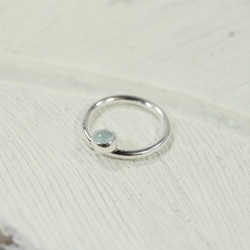 septum ring 3mm gemstone silver aquamarine