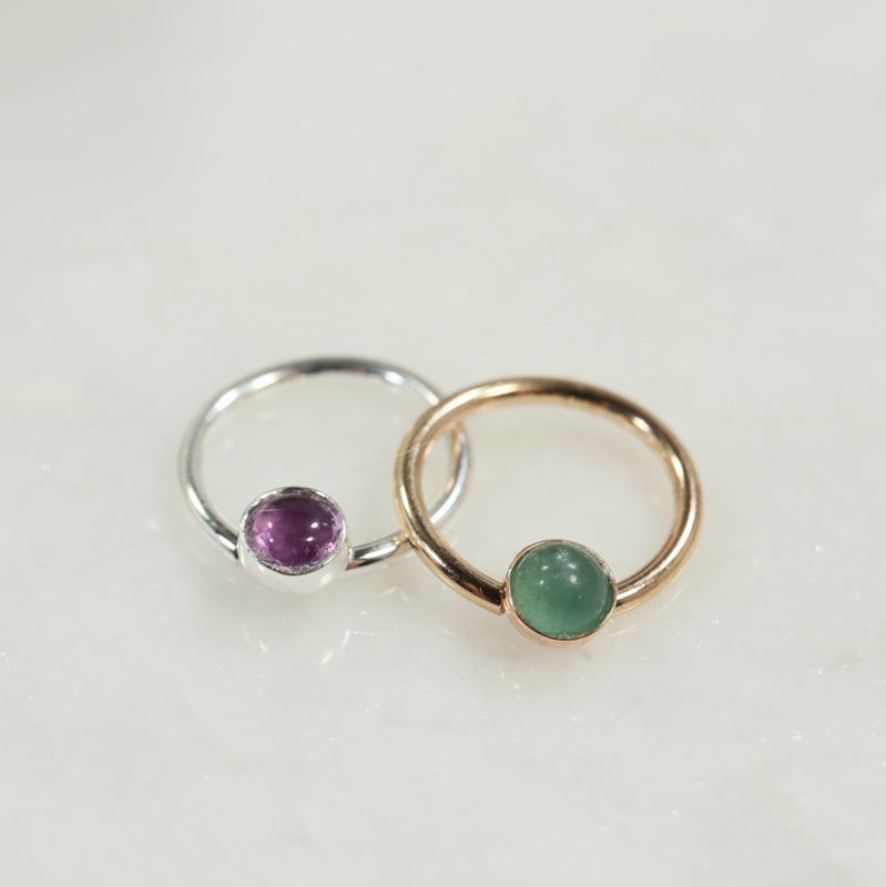 4mm septum ring gemstone silver, gold