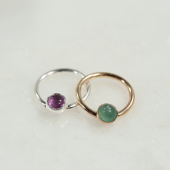 4mm daith ring gemstone silver, gold