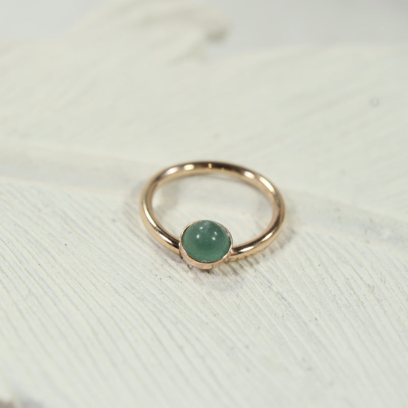 daith ring gold with aventurine 4mm