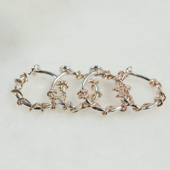 silver squiggles tiny hoop earrings gold, pink gold