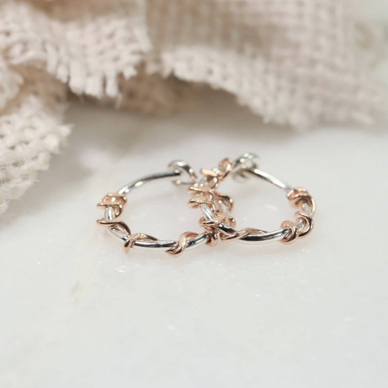 silver squiggles tiny hoop earrings pink gold