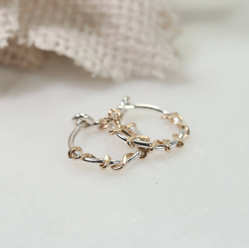 silver squiggles tiny hoop earrings gold