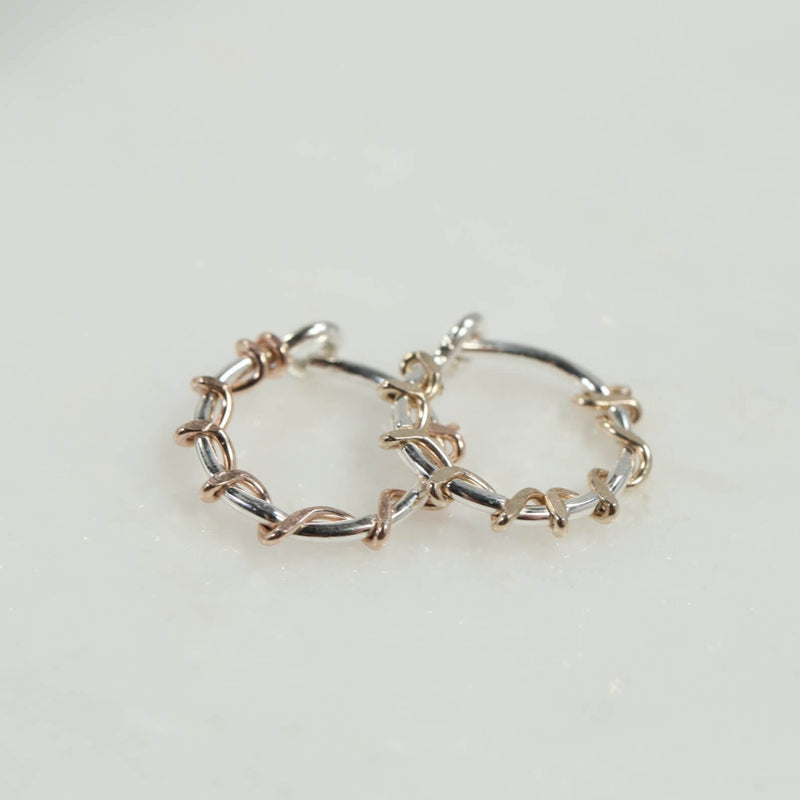 tiny hoops silver squiggles with pink gold or gold