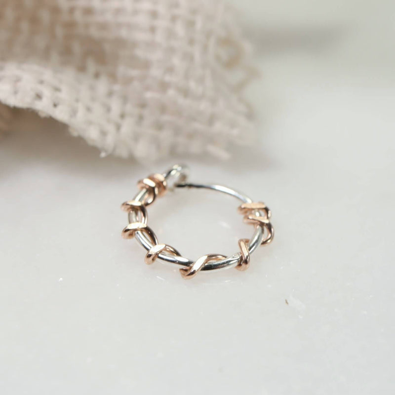 tiny hoop earrings silver with pink gold squiggles