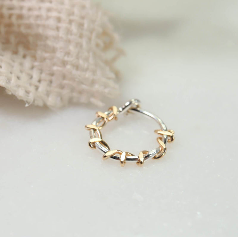 tiny hoop earrings silver with gold squiggles