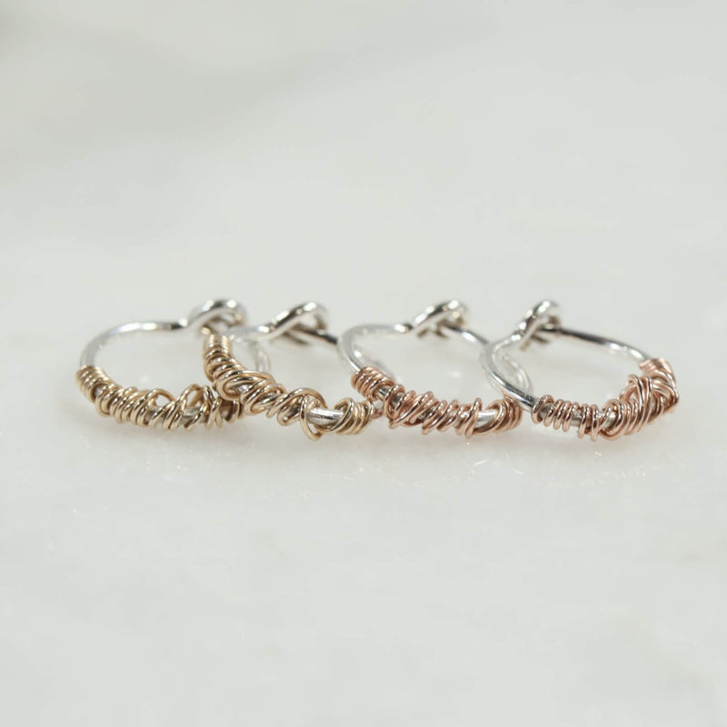 tiny hoop earrings silver with gold or pink gold