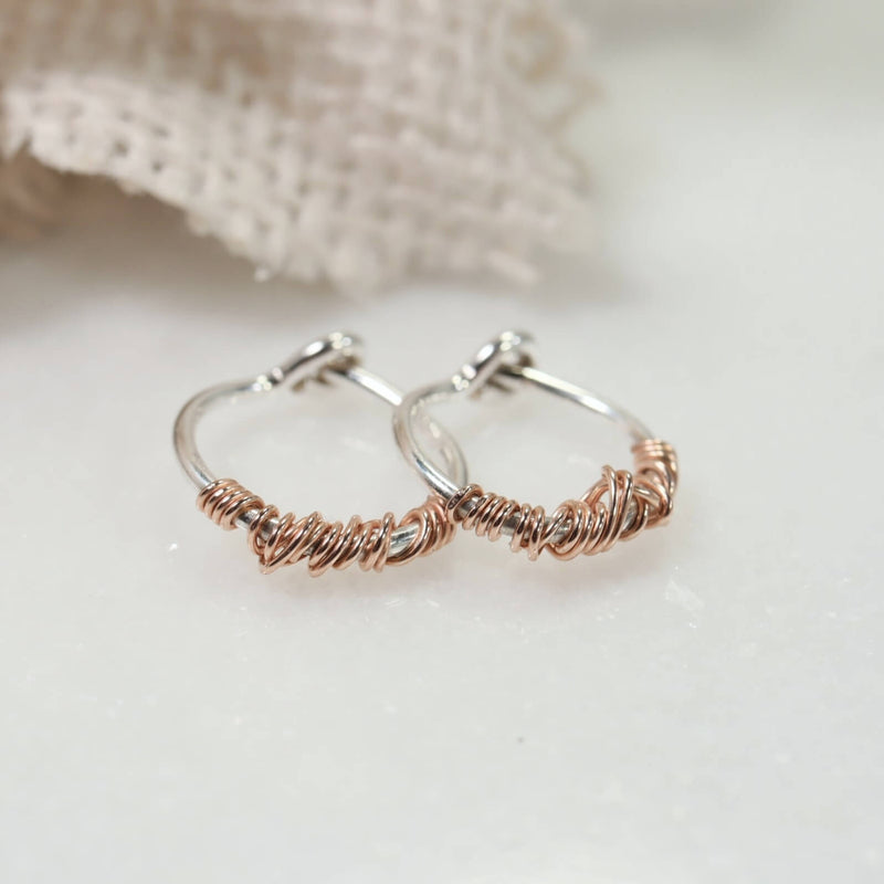 tiny hoop earrings silver with pink gold