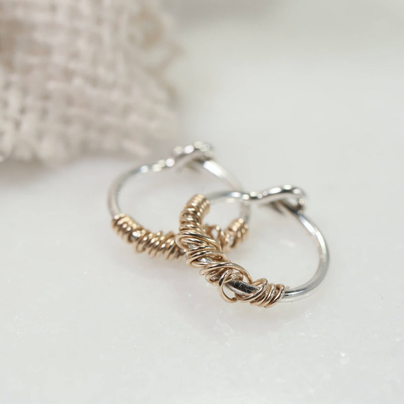 tiny hoop earrings silver with gold