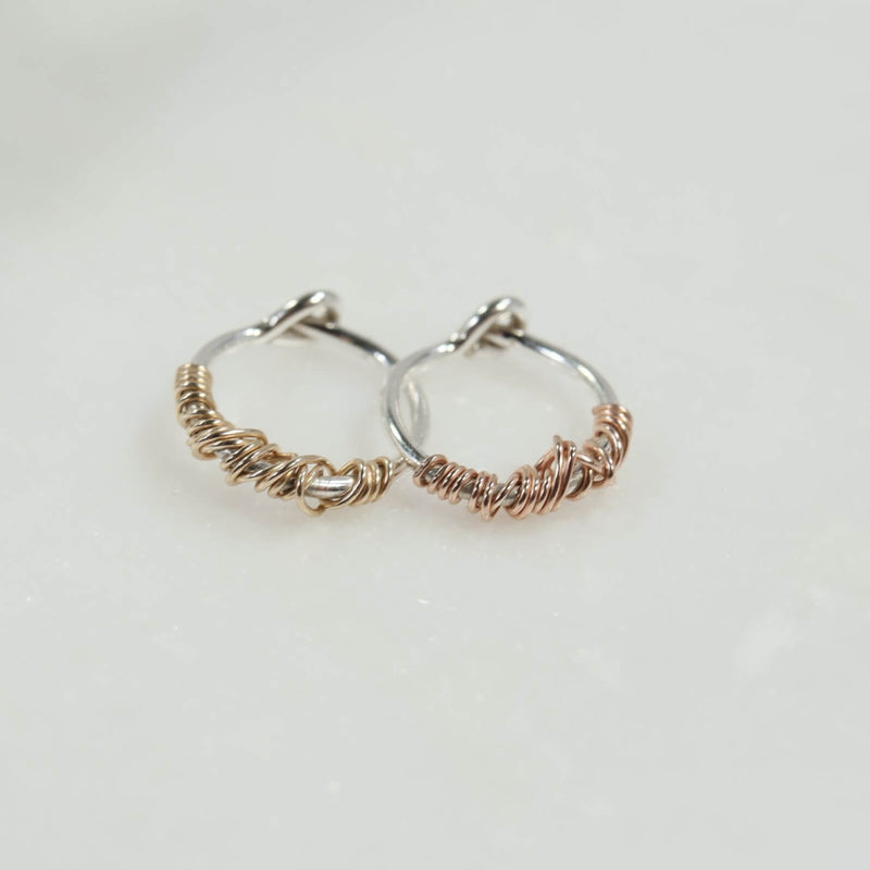 silver tiny hoop earrings with gold or pink gold tangle