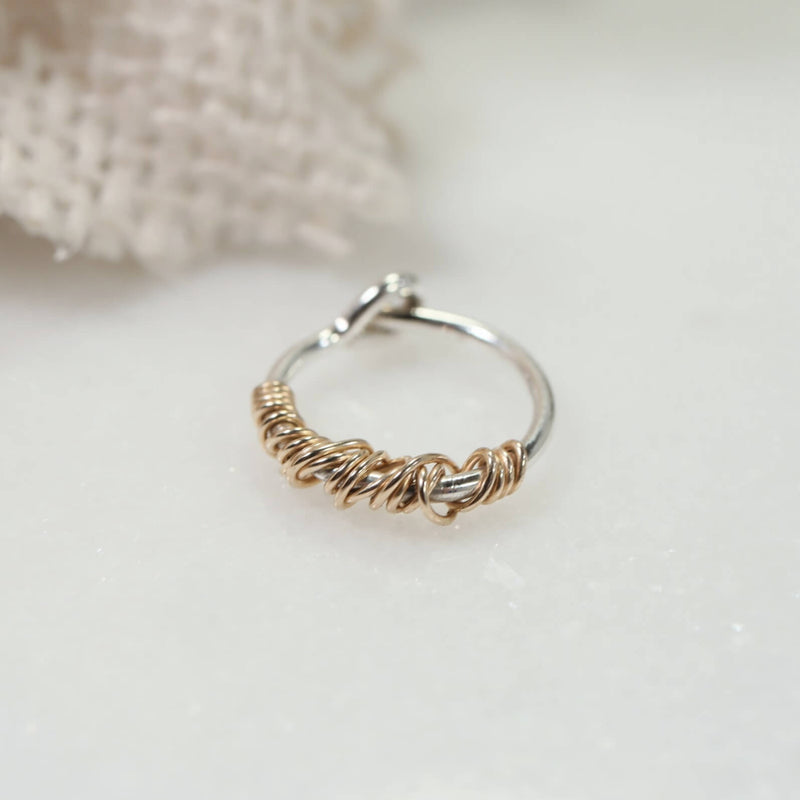 silver tiny hoop earrings with gold tangle