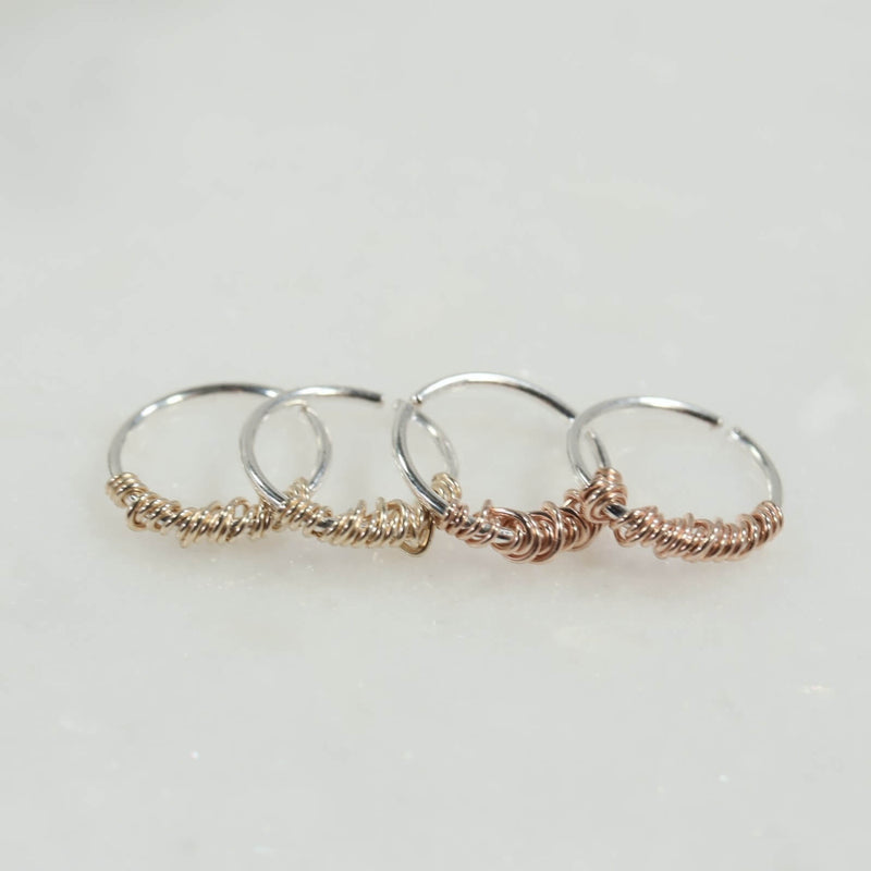 tangled endless tiny hoop earring gold or pink gold wrap