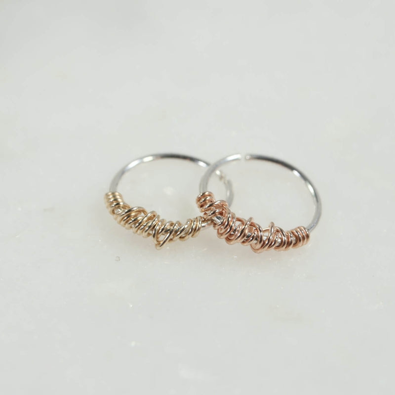 silver tiny hoop earrings with gold or pink gold tangled accent