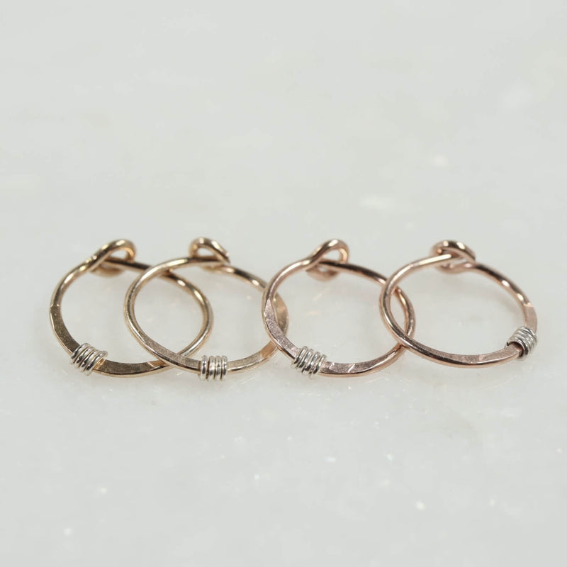 tiny hoop earrings hammered & wrapped gold and pink gold