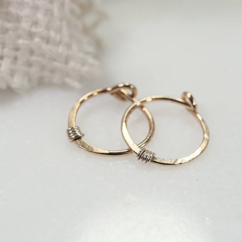 tiny hoop earrings hammered & wrapped gold