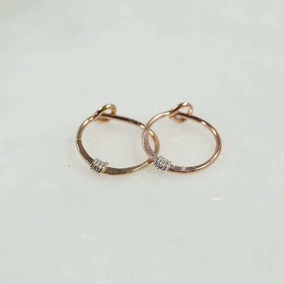 golds hammered & wrapped tiny hoops gold, pink gold with silver