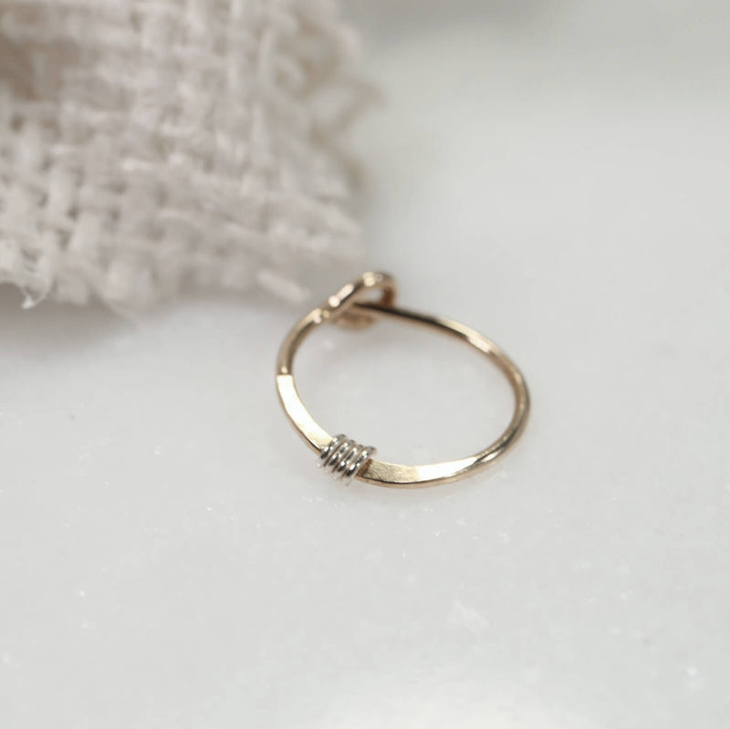 golds hammered & wrapped tiny hoops gold with silver