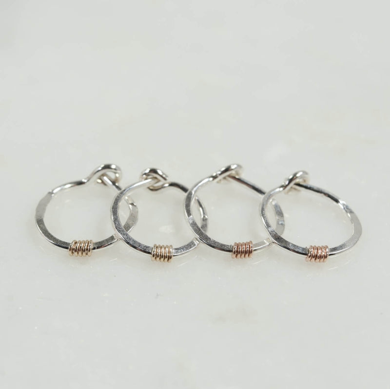 tiny hoop earrings silver hammered & wrapped gold, pink gold