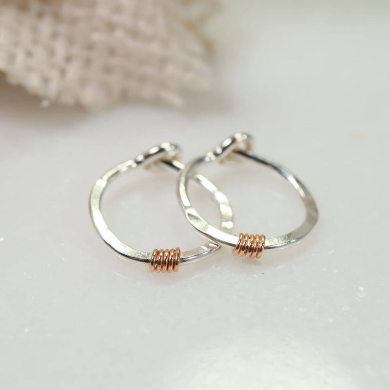 tiny hoop earrings silver hammered & wrapped pink gold
