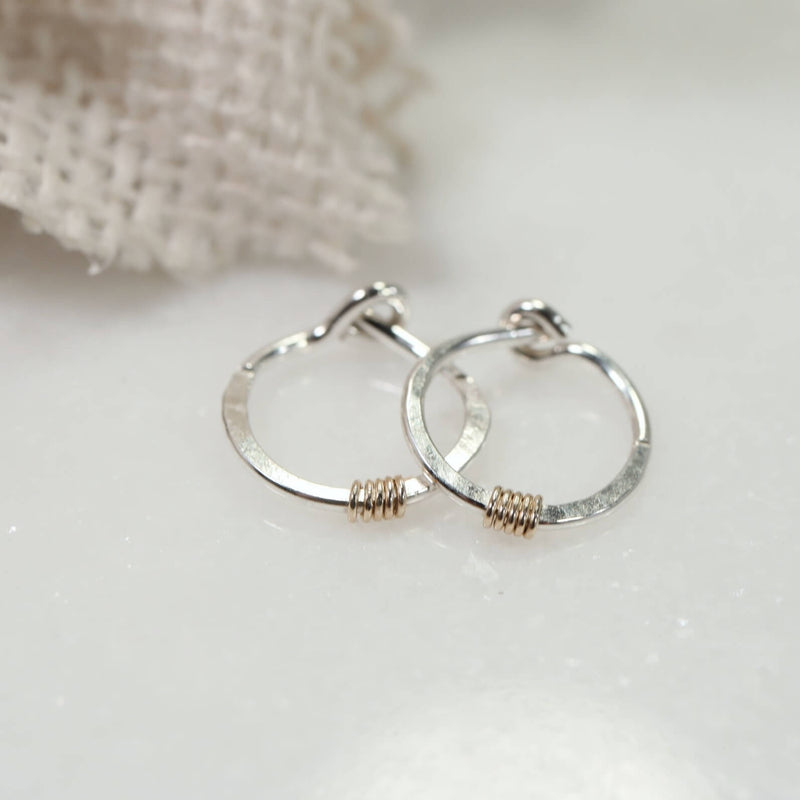 tiny hoop earrings silver hammered & wrapped gold