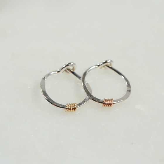 tiny hoop earrings silver with gold or pink gold wrap accent