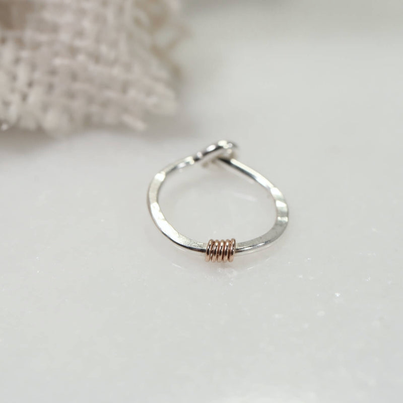 tiny hoop earrings silver with pink gold wrap accent