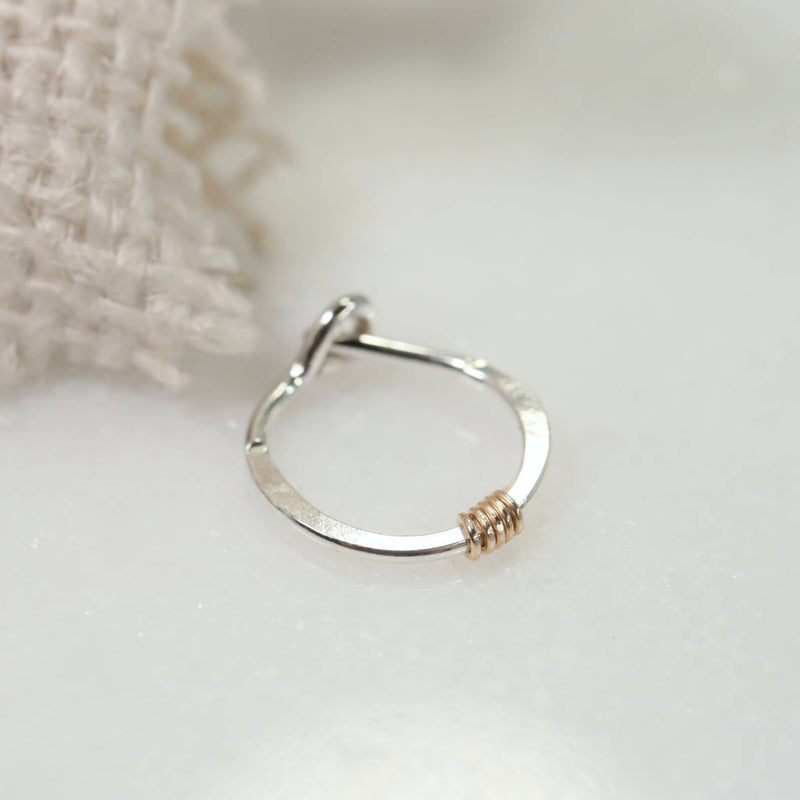 tiny hoop earrings silver with gold wrap accent