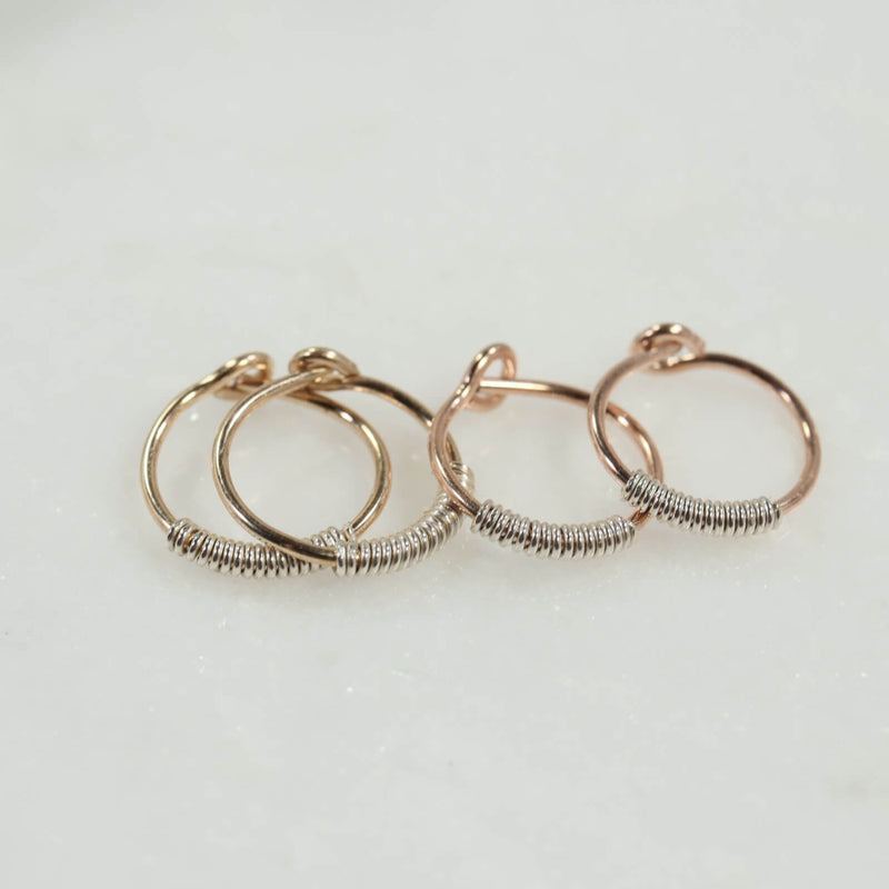 wrapped tiny hoop earrings gold or pink gold with silver wrap