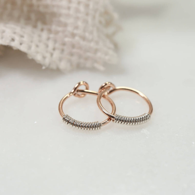 wrapped tiny hoop earrings pink gold with silver wrap