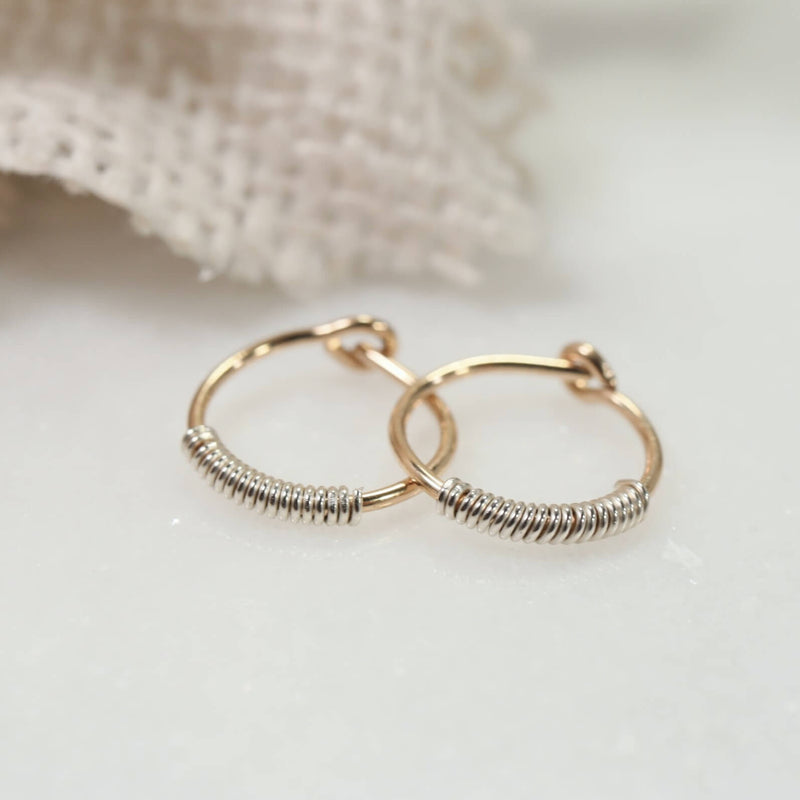 wrapped tiny hoop earrings gold with silver wrap