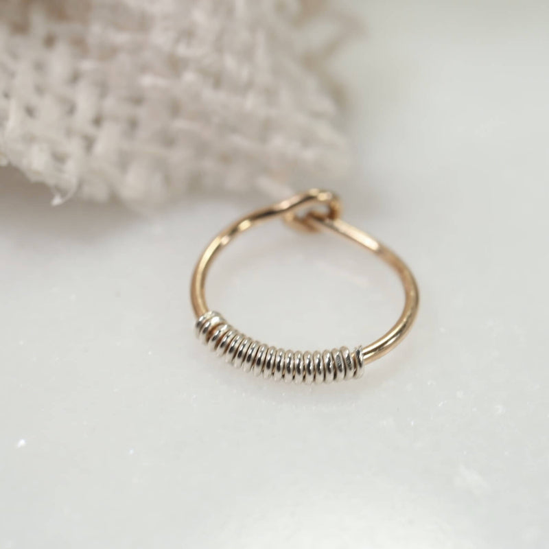 gold with silver wrapped tiny hoop earrings