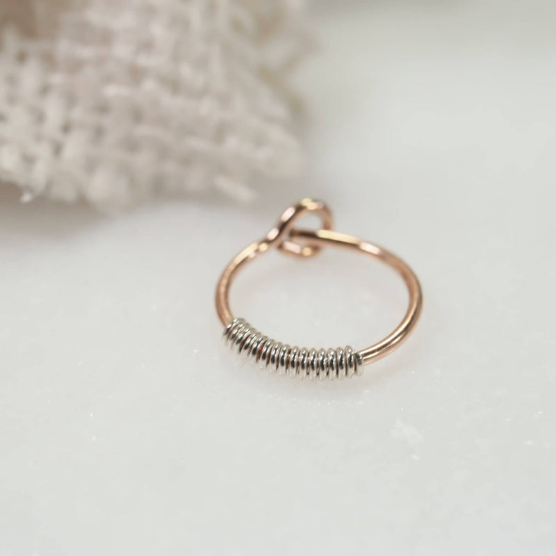 pink gold with silver wrapped tiny hoop earrings