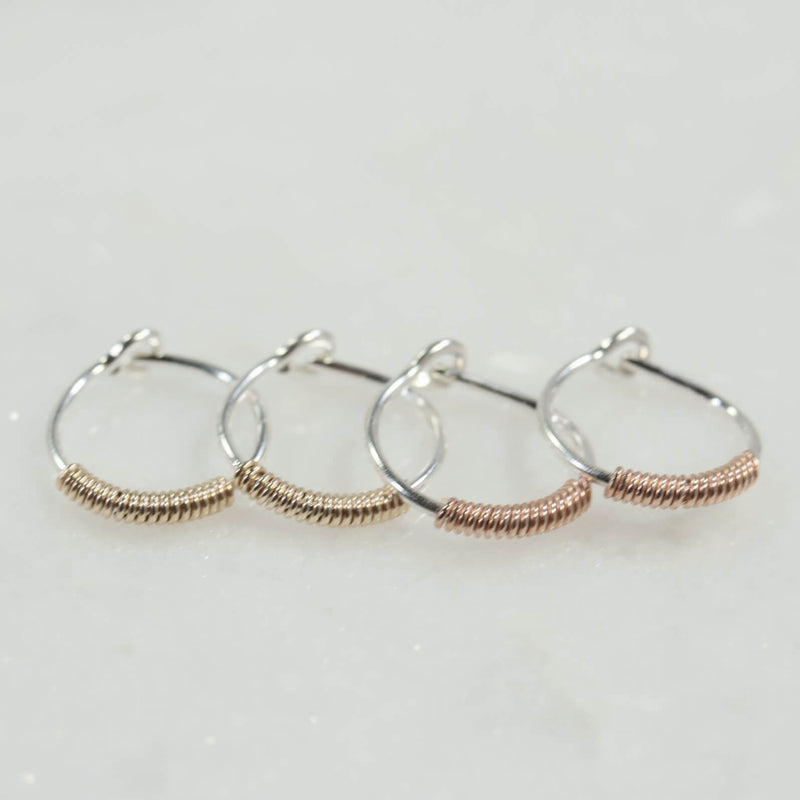 tiny hoop earrings silver with gold or pink gold filled wrap