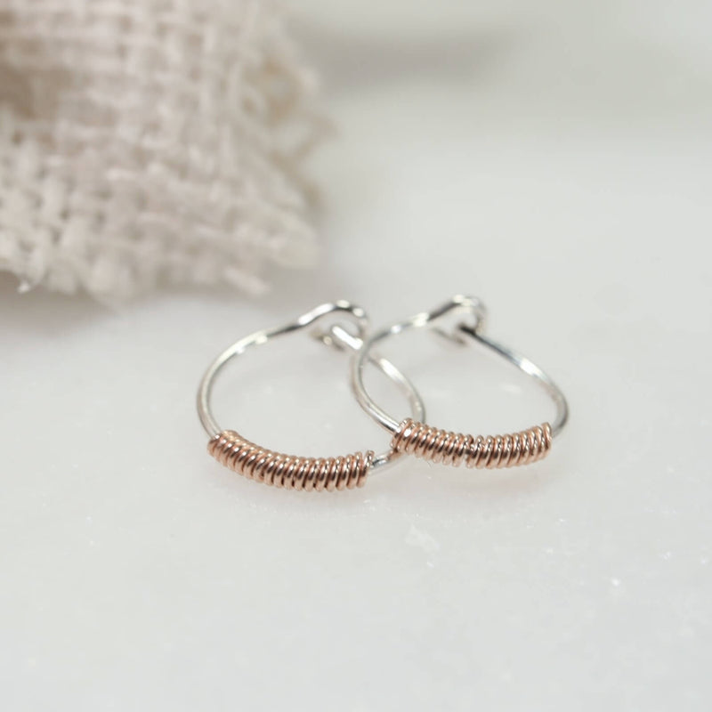tiny hoop earrings silver with pink gold filled wrap