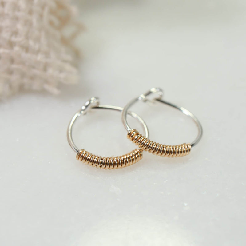tiny hoop earrings silver with gold filled wrap