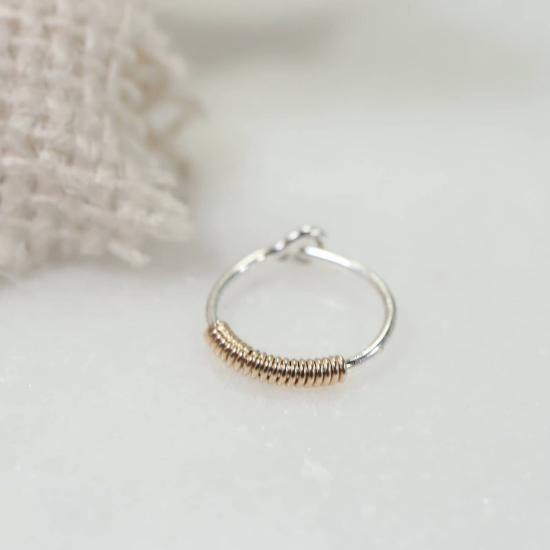 silver wrapped gold accent hoop earring