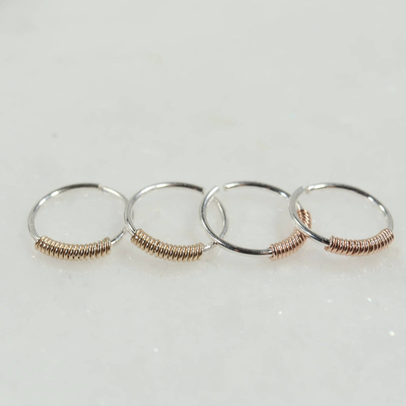 wrapped tiny hoop earrings silver with gold, pink gold