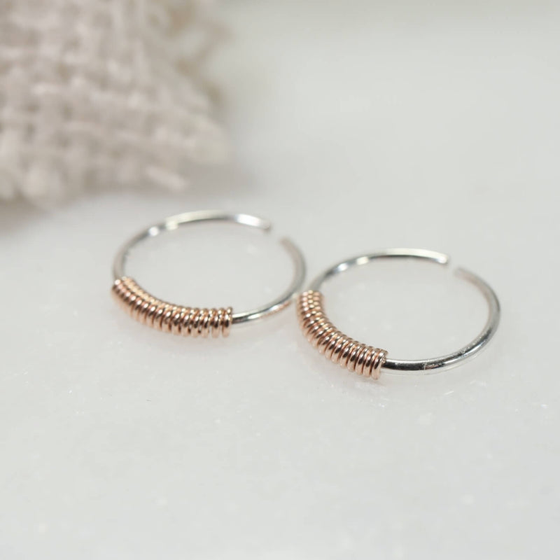 wrapped tiny hoop earrings silver with pink gold