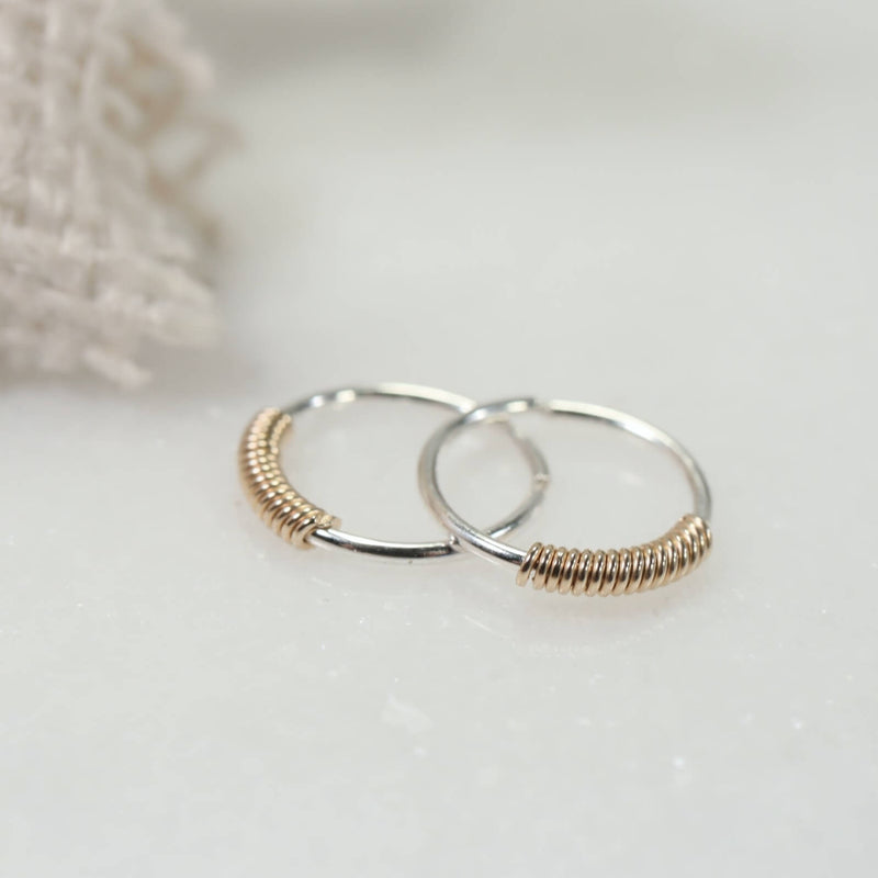 wrapped tiny hoop earrings silver with gold