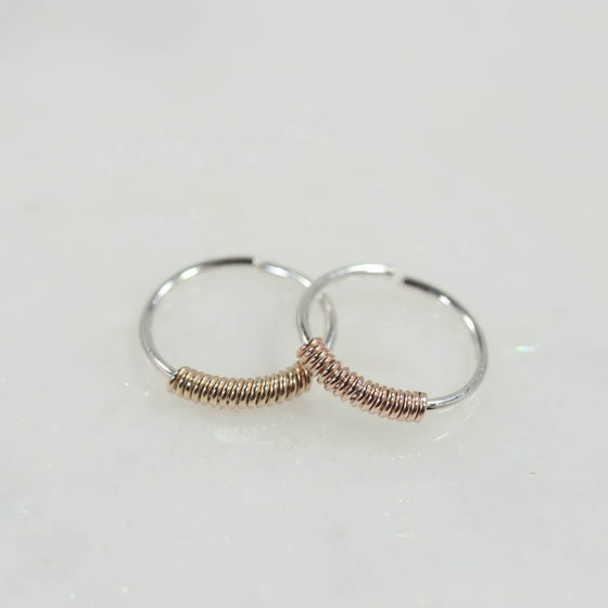 nose ring silver with gold or pink gold wrap accent