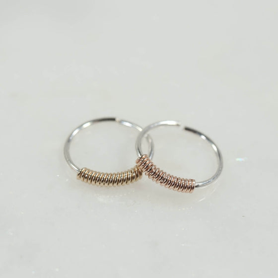 tiny hoop earrings silver wrapped with gold, pink gold
